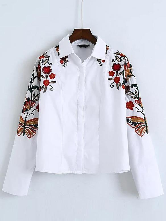 Фото Flower Embroidered Shirt. Купить с доставкой