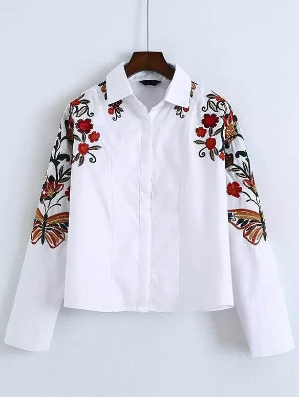 Flower embroidered shirt shein sheinside