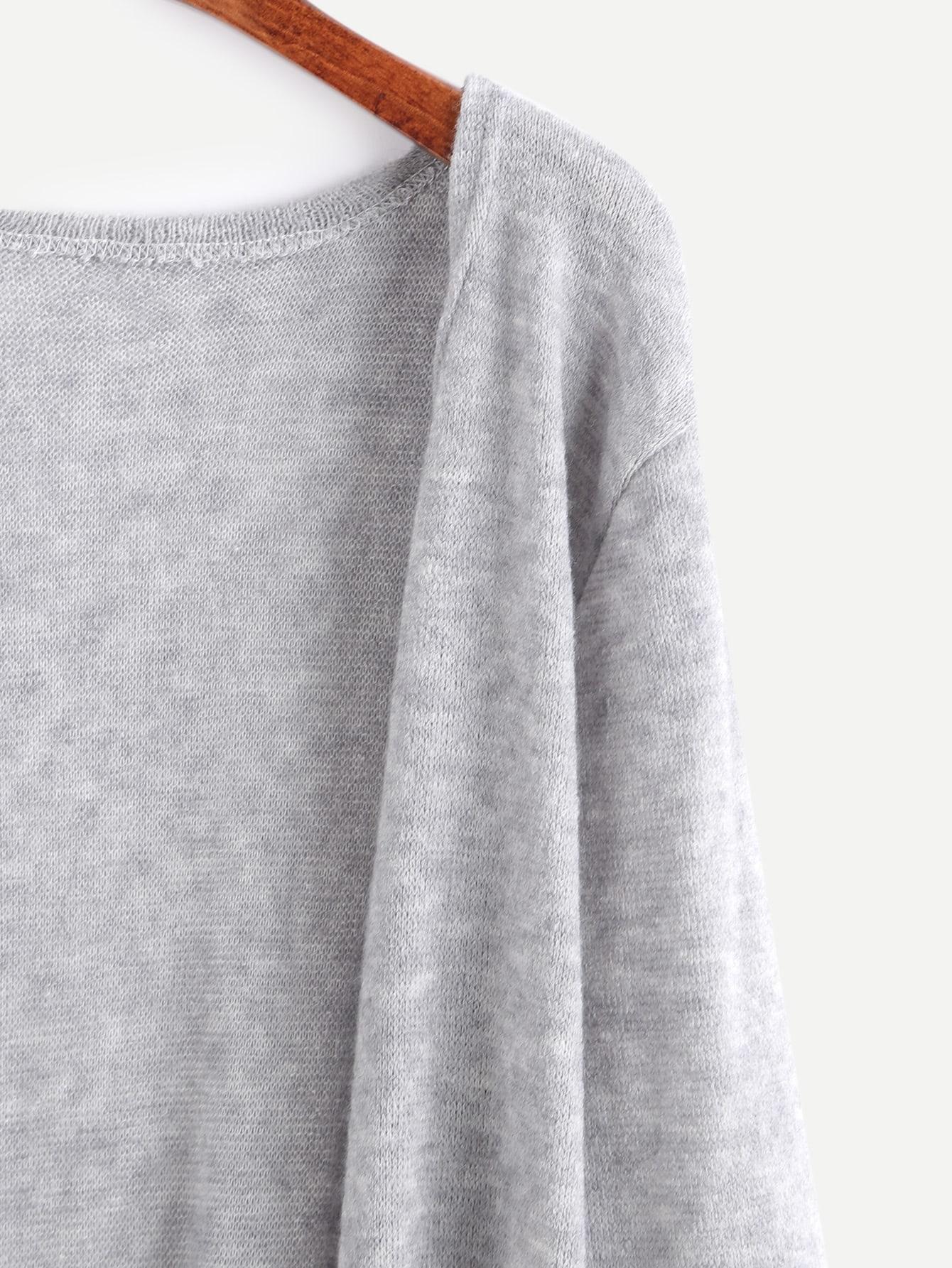 Elastic Cuff Cardigan With Pockets -SheIn(Sheinside)
