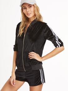 Black Velvet Striped Side Zip Top With Shorts