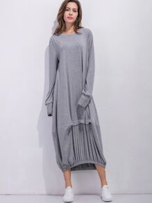 Elastic Hem Full Length Cocoon Dress