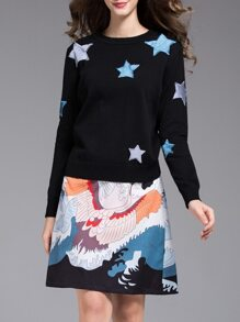 Black Stars Embroidered Top With Print Skirt