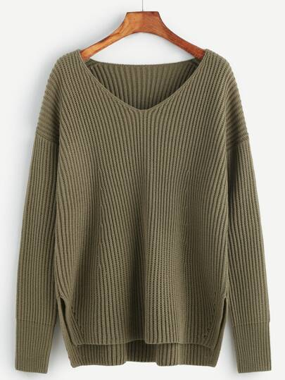 Olive Green Ribbed Knit Slit High Low Sweater