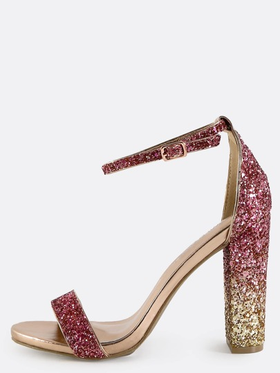 Single Strap Glitter Sequin Chunky Heels Blush