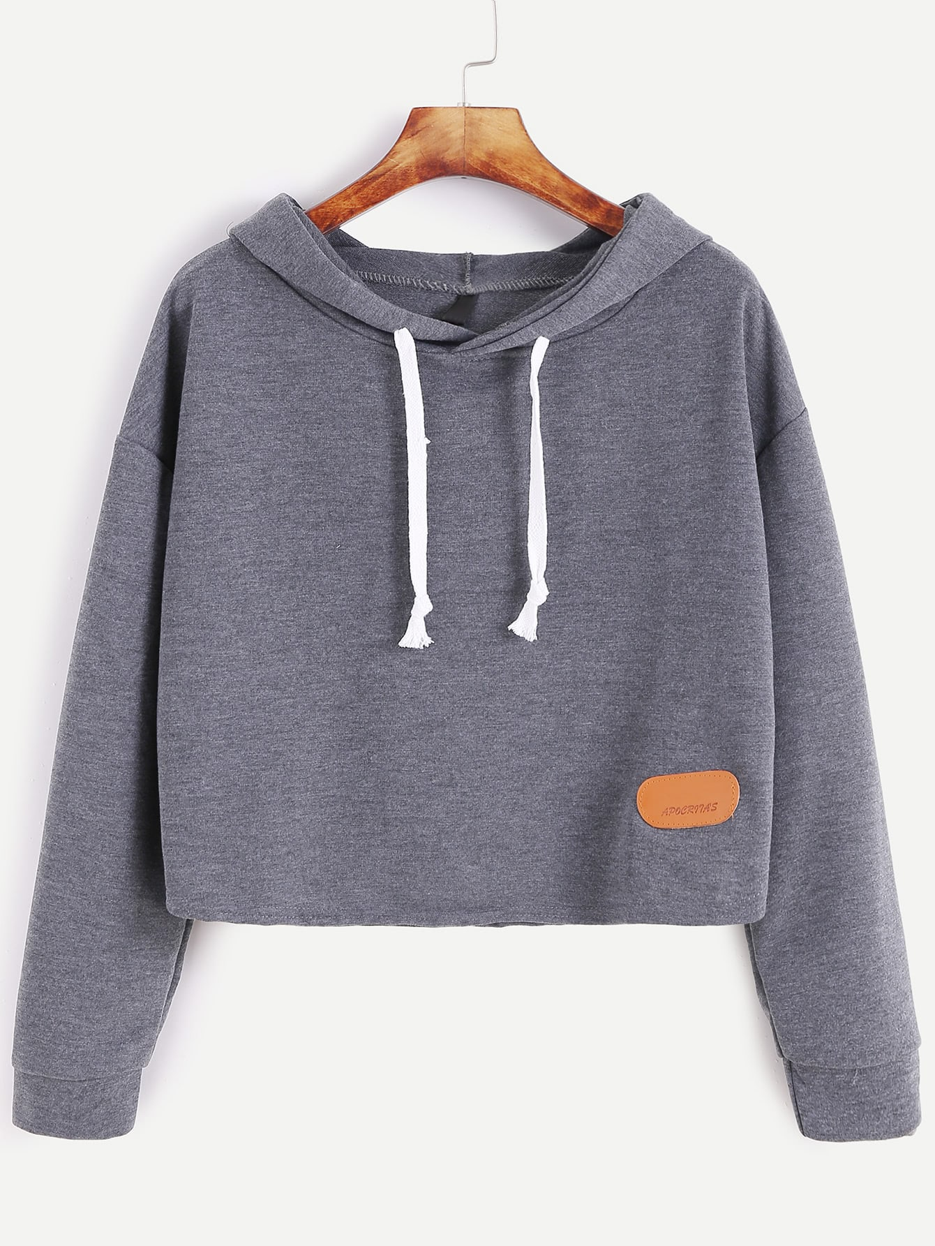 Hooded Drop Shoulder Patch Sweatshirt drop shoulder ripped hooded crop sweatshirt