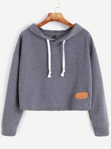 Hooded Drop Shoulder Patch Sweatshirt