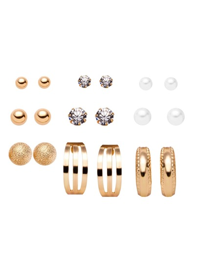 Gold Plated Geometric Gemstone Stud Earrings Set