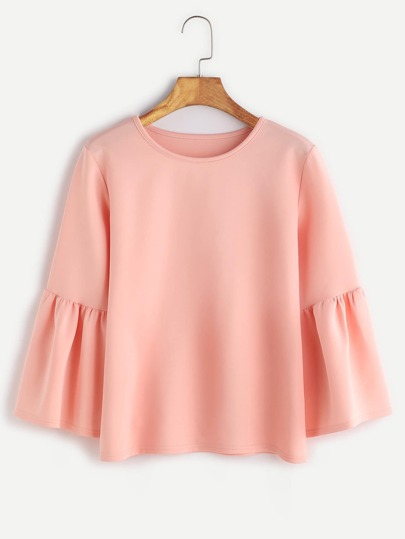 Round Neck Bell Sleeve Blouse