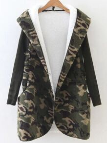 Army Green Hooded Camouflage Coat With Knit Sleeve
