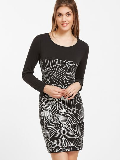 Black Cobweb Print Sheath Dress