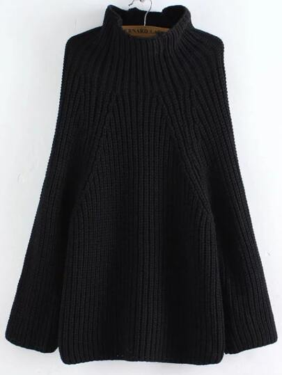 Black Turtleneck Oversized Poncho Sweater