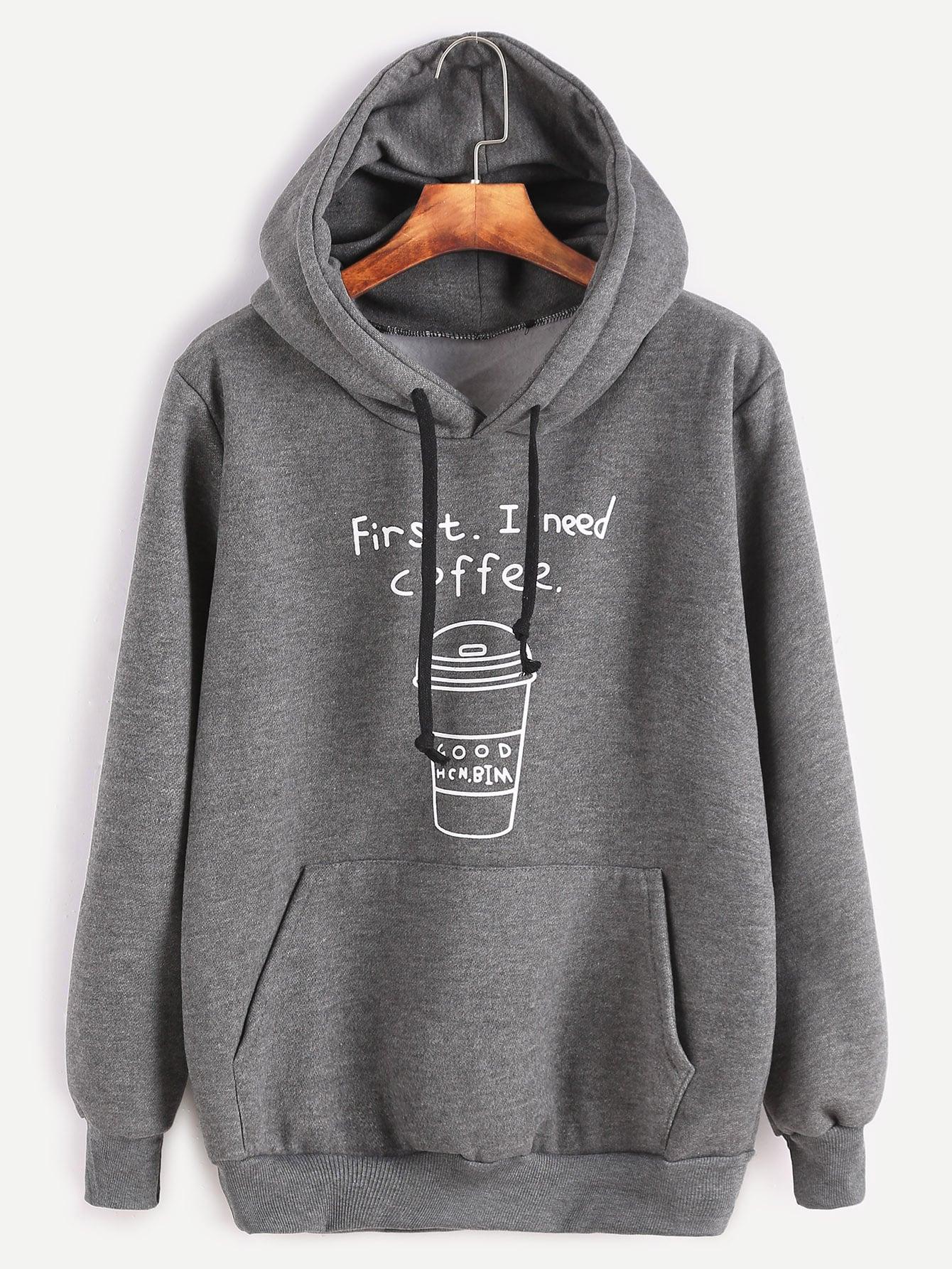 Dark Grey Printed Hooded Sweatshirt With Pocket dark green hooded drop shoulder sweatshirt