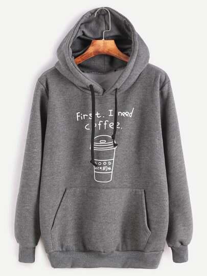 Dark Grey Printed Hooded Sweatshirt With Pocket