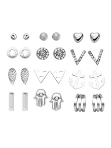 Silver Plated Rhinestone Multi Shape Stud Earrings Set