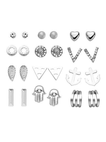 Silver Plated Rhinestone Multi Shape Stud Earrings Set