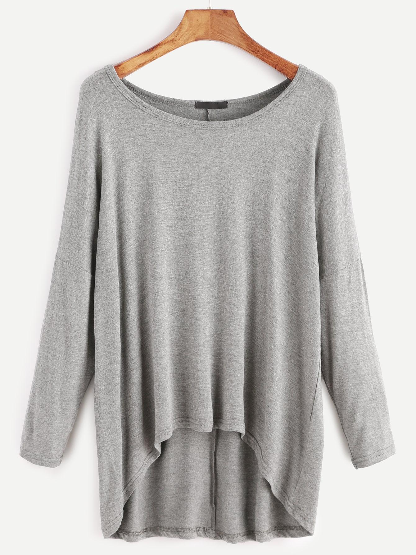 Grey Drop Shoulder Dip Hem T-shirt tee161117301
