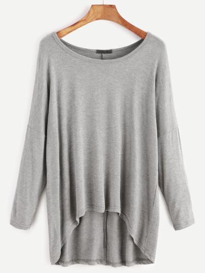 T-shirt Drop Schulter abfallendem Saum-grau