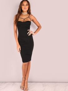 Bar Strap Cupped Bodycon Dress BLACK