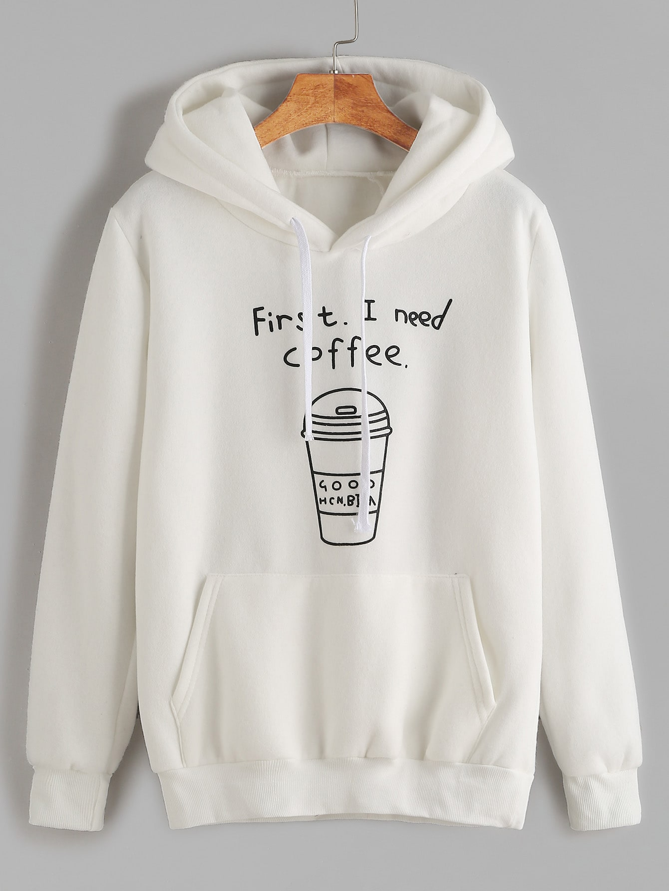 White Printed Hooded Sweatshirt With PocketWhite Printed Hooded Sweatshirt With Pocket<br><br>color: White<br>size: one-size