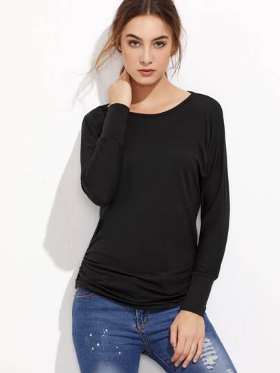 Camiseta de manga raglán fruncida - negro