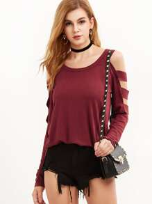 Burgundy Cold Shoulder Ladder Cutout Sleeve T-shirt