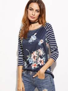 T-Shirt Stampa Floreale Maniche A Raglan A Strisce - Marino