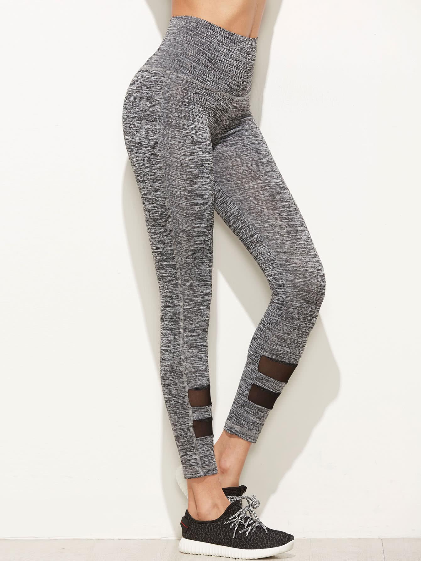 Grey Marled High Waist Leggings With Mesh Panel Detail leggings161118704