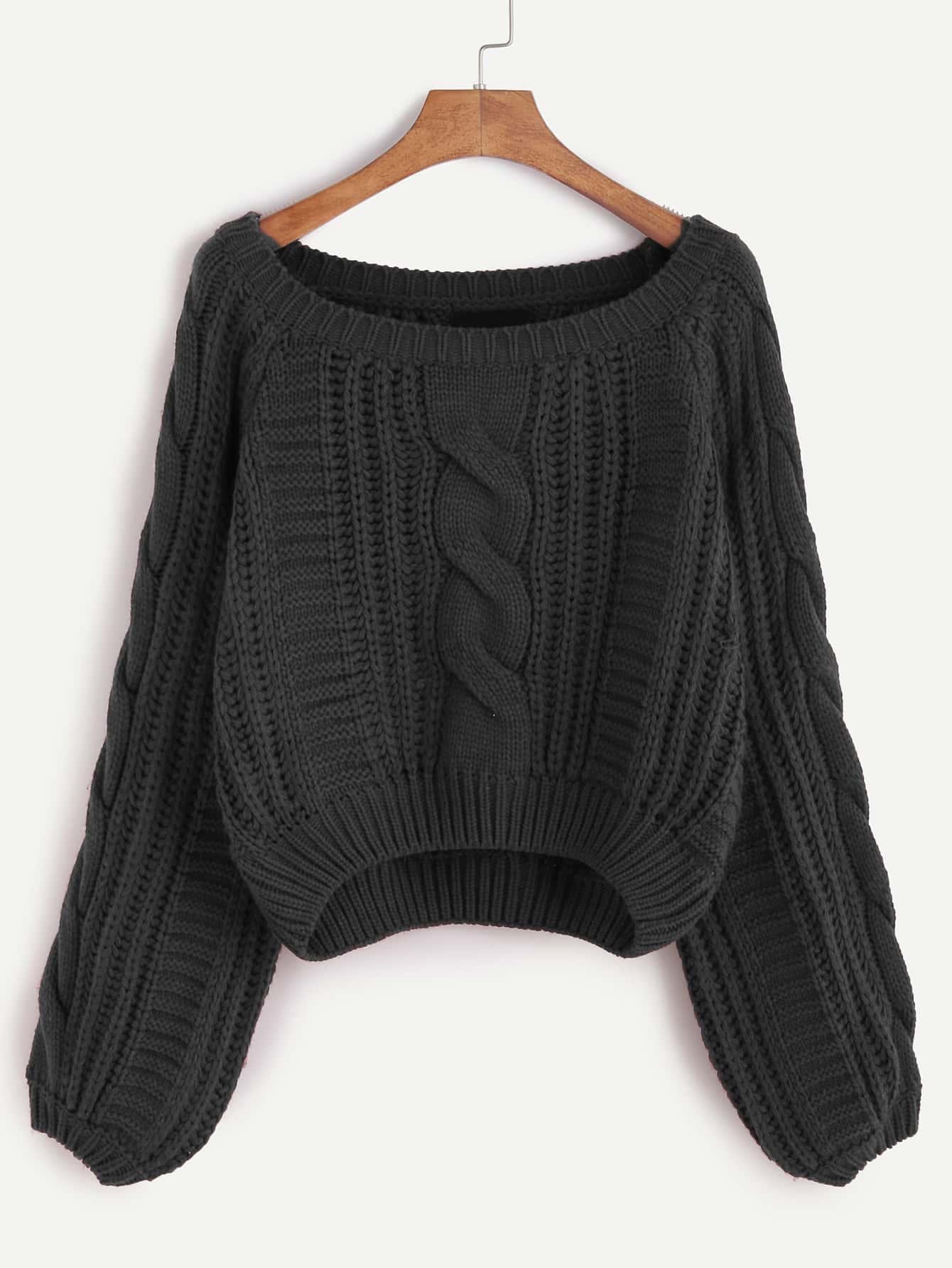 Black Raglan Sleeve Cable Knit Sweater sweater161121011