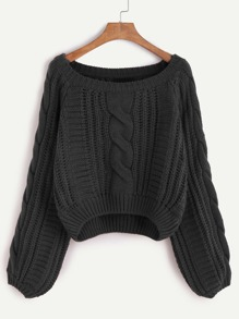 Black Raglan Sleeve Cable Knit Sweater