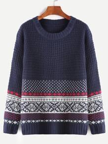 Navy Geometric Pattern Drop Shoulder Sweater