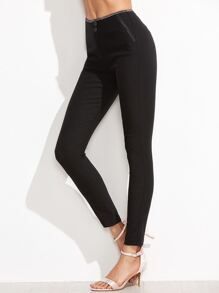 Black Contrast Trim Skinny Ankle Pants