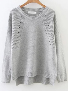 Grey Hollow Out Drop Shoulder Dip Hem Sweater