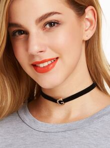 Black Velvet Metal Letter Minimalist Choker Necklace