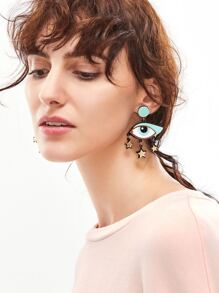 Bohemia Eye Shaped Star Trim Leather Drop Earrings