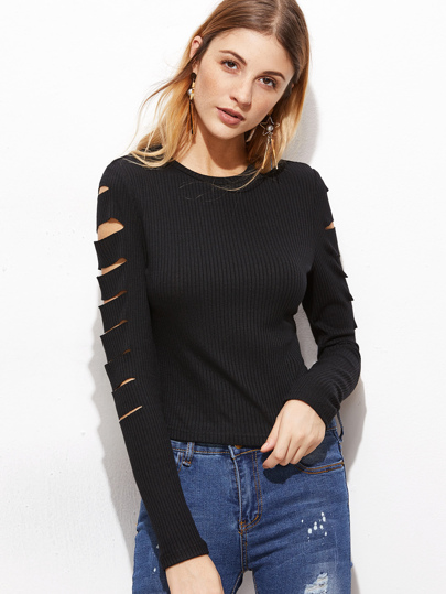 Ripped Sleeve Knit Top