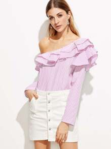 One Shoulder Vertical Striped Ruffle Trim Top