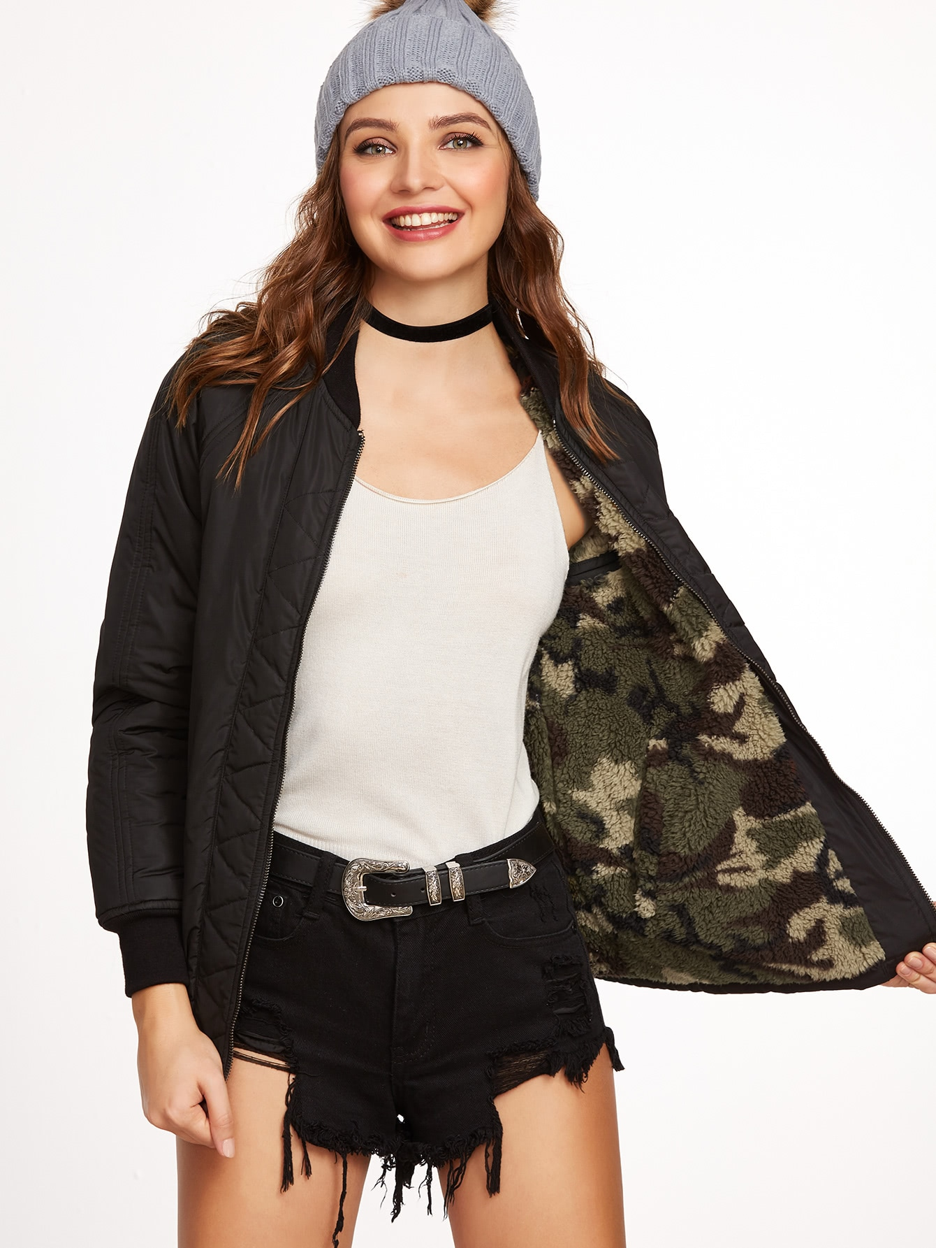 Black Camo Fluffy Fleece Lined Double Sided JacketBlack Camo Fluffy Fleece Lined Double Sided Jacket<br><br>color: Black<br>size: L,M,S,XS