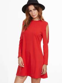 Red Crew Neck Cut Out Long Sleeve Shift Dress