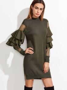 Contrast Mesh Sleeve Ruffle Tiered Trim Sweater Dress