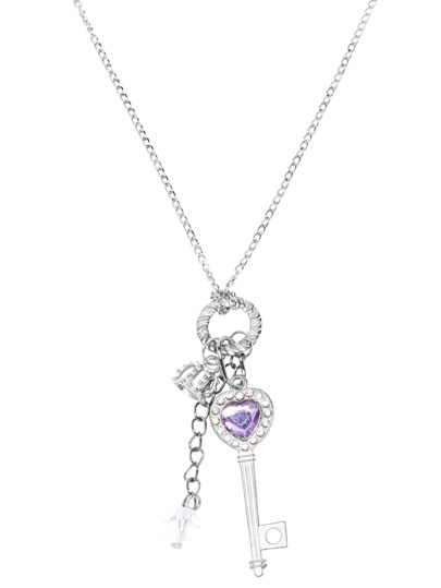Silver Plated Crystal Key Pendant Necklace