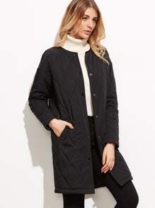 Black Quilted Collarless Single Breasted Coat