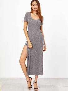 Grey Marled Ribbed Knit High Slit Maxi T-shirt