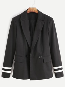 Black Striped Sleeve Flap Pocket Front Blazer