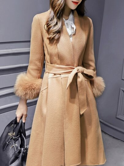 Camel Lapel Tie-Waist High Low Pockets Coat
