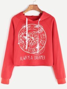 Sweat-shirt à capuche manche raglan imprimé douze constellations -orange