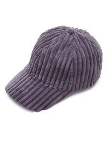 Dark Grey Ribbed Velvet Warm Baseball Cap