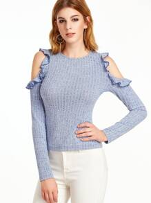 Marled Ribbed Knit Open Shoulder Ruffle Tee