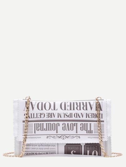 White Print PU Candy Chain Bag