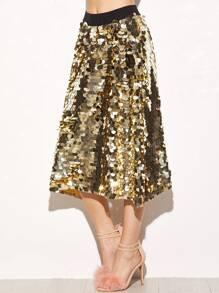 Gold Contrast Waist Large Sequin Skirt