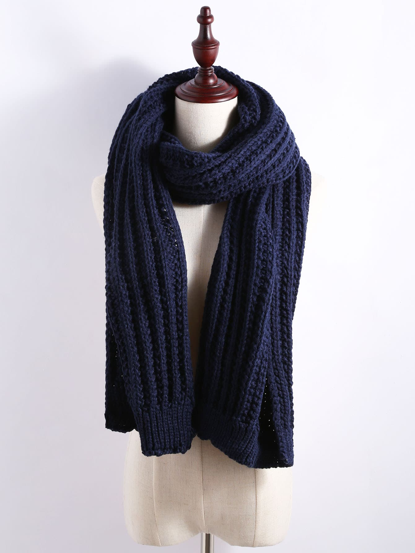 Navy Ribbed Chunky Knit Textured Scarf scarf161111007
